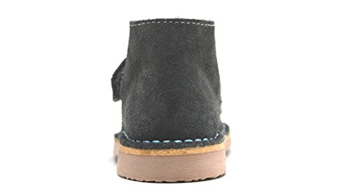 POM Shoes Madrid Mini Gray & Blue Velcro Boots with Leather Lining and Blue Accents 27 EU (8 M US Toddler) by POM Shoes (Image #5)