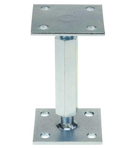 Stützenfuß Pfostenträger 100x100 mm verstellbar - Rechts-Linksgewinde mit Platte Reidl