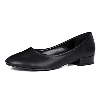 sorliva Low Chunky Heel Pumps,Comfort Walking Width Round Toe Flat Loafers Shoes for Women Dress Office Shoes (6.5, Black)