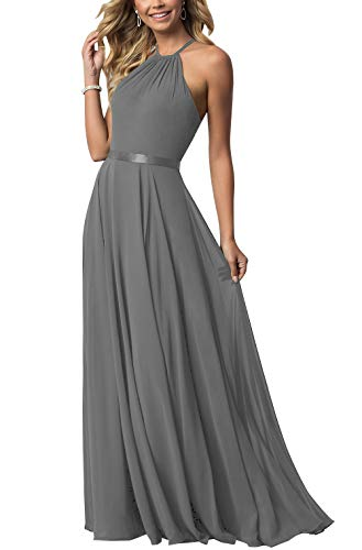 Bridesmaid Dresses Long Halter Chiffon Aline Prom Party Gown 2019 Formal Women Grey 6
