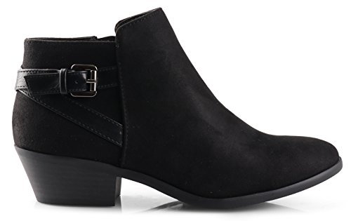 SODA Round Faux Suede Stacked Western Ankle Bootie 10