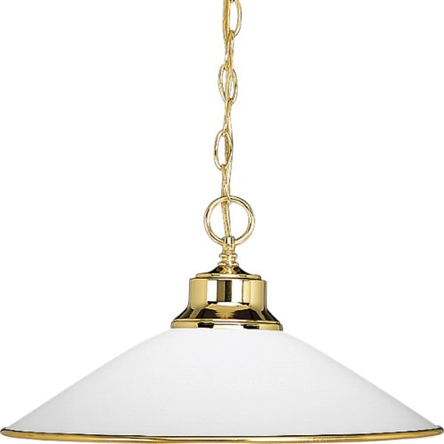 Progress Lighting P5013-10 1-Light Chain-Hung Pendant with Satin Opal Glass and Accent Ring, Polished Brass