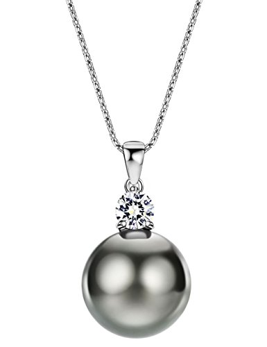 Mints Tahitian Cultured Pearl Necklace Pendant Sterling Silver with Cubic Ziconia Jewelry for Women 16-18 Inches