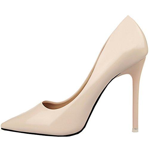 Beige altos Pointed de Stiletto Mujeres tacón Tacones BIGTREE Zapatos Toe Zapatos Vestir Charol De UTaOqwxw