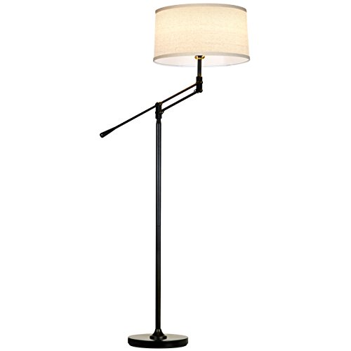 Brightech Ava LED Floor Lamp for Living Rooms - Standing Pole Light with Adjustable Arm - Office and Bedroom, Bright Reading Downlight with Drum Shade - Black by Brightech