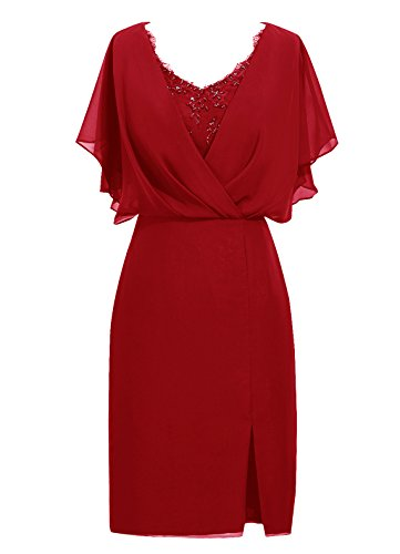 Dresstells®Vestido De Mujer 2016 Corto De Gasa Con Mangas Escote En Pico Rojo Oscuro