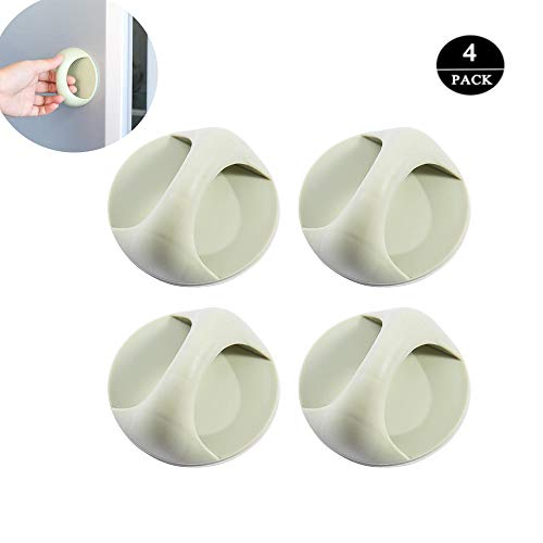 4pcs Self-Stick Instant Kitchen Cabinet Drawer Handle Pull Sticker Cabinets Cupboards Drawers Finger Edge Pull (Green)