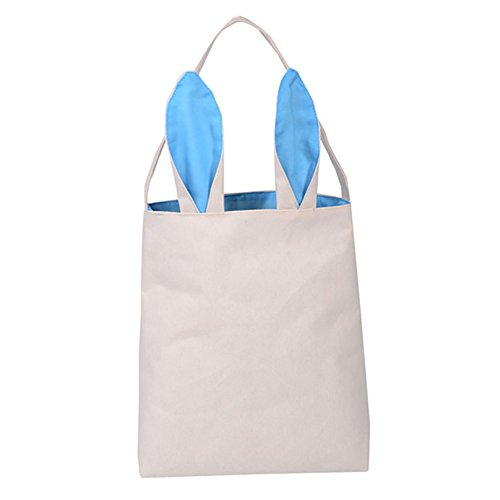 Aspire Bulksale Easter Bunny Bags, Dual Layer DIY Tote Jute Treat Packing Cotton Ear Bag Party Favor - SkyBlue,1pc