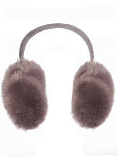Emmalise Oversized Winter Earmuffs for Cold Weather Faux Fur Soft Ear Warmer, Fuzzy Gray