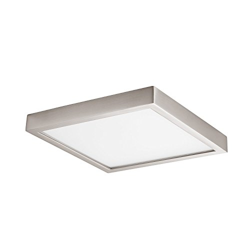 (GetInLight Square 8-inch Dimmable Flush Mount Ceiling Fixture, 14 Watt, Brushed Nickel Finish, 3000K Soft White, 80W Replacement, Damp Location Rated, ETL Listed, IN-0313-2-SN)