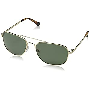 Obsidian Sunglasses for Men Aviator Polarized Rectangle Frame 05, Gold, 58 mm