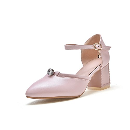 BalaMasa Womens Sandals Closed-Toe Smooth Leather Light-Weight Fashion Sandals ASL04675 Pink