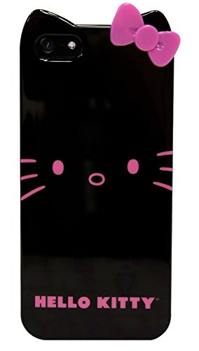 Sanrio Hello Kitty Apple iPhone 5/5s Case BLACK/PINK Kids Girly Design Polycarbonate Hard Cover (Iphone 5 Kitty Hello Cases)