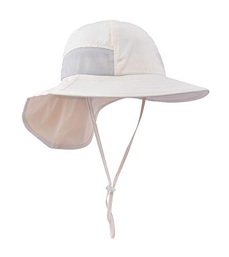 Safari hat Kids Outdoor Toddler Sun hat Kids UV Protecting Sun Hats with Neck Flap Khaki
