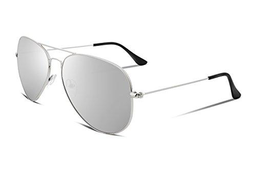 FEISEDY Vintage Men Aviator Sunglasses Metal Frame Plastic HD Lens Silver - Adjust Plastic Frames