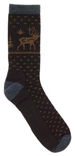 (Woolrich Women's Wool Crew Socks Reindeer Fairisle, Brown, Large Plus Size)
