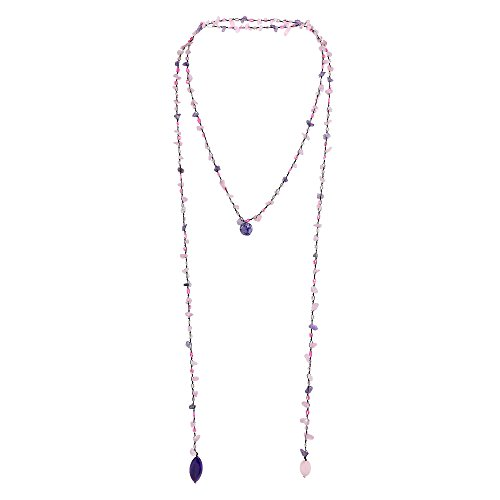 AeraVida Long Lariat Wrap Multi-Wear Pink Glass & Purple Mix Stones Beaded Necklace ()