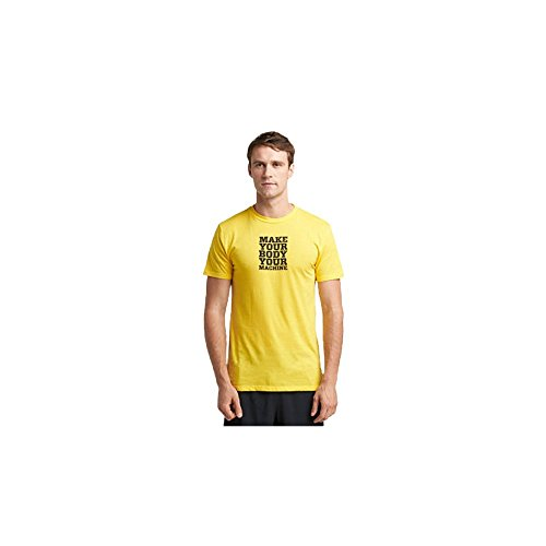 TRX Training Make Your Body Your Machine Men's T-Shirt, Soft, Durable Cotton-Modal Blend, Yellow (X-Large)