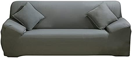 DIFEN Sofa Cover Grey 4 Seater Slipcover Sofa Couch Stretch Elastic Polyester Spandex FabricSofa Protector (Chair :1seater, Grey)