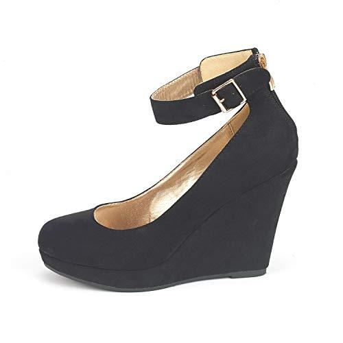 (DREAM PAIRS Women's ASH-22 Black Suede Mary Jane Round Toe Platform Fashion Wedges Pumps Shoes Size 6 US)