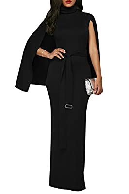 Meenew Women's Turtleneck Floor Length Formal Cloak Gown Homecoming Dress