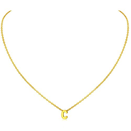 MOMOL Tiny Initial Necklace, 18K Gold Plated Stainless Steel Initial Necklace Dainty Personalized Letter C Necklace Minimalist Delicate Small Monogram Name Necklace for Women Girls (Necklaces With A Initial)