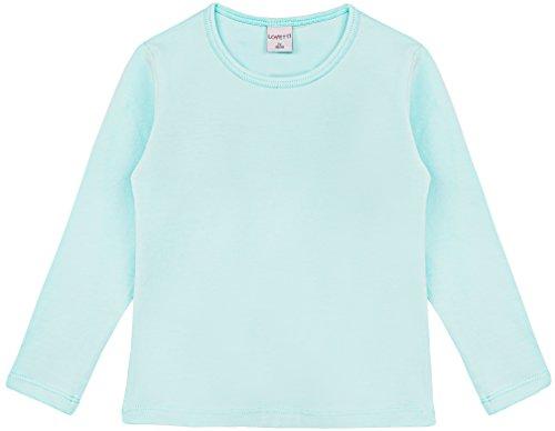 Lovetti Girls' Basic Long Sleeve Round Neck T-Shirt 12 - Blue T-shirt Neck Round