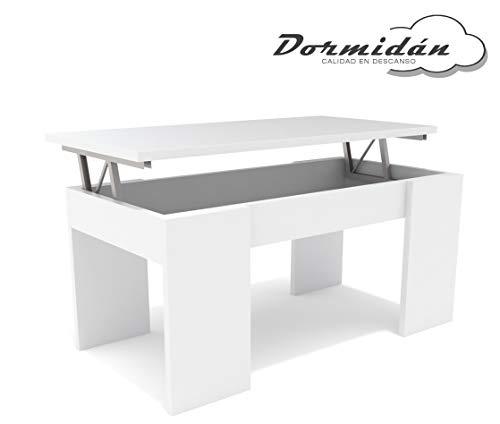 Dormidan- Mesa de Centro elevable, Comedor o Auxiliar, Mayor Grosor y Estabilidad (Blanco/Blanco) …