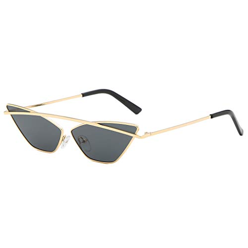 Sapienc Women's Cool Glasses Cat Eye Shade Sunglasses Integrated Stripe Vintage Glasses Gray