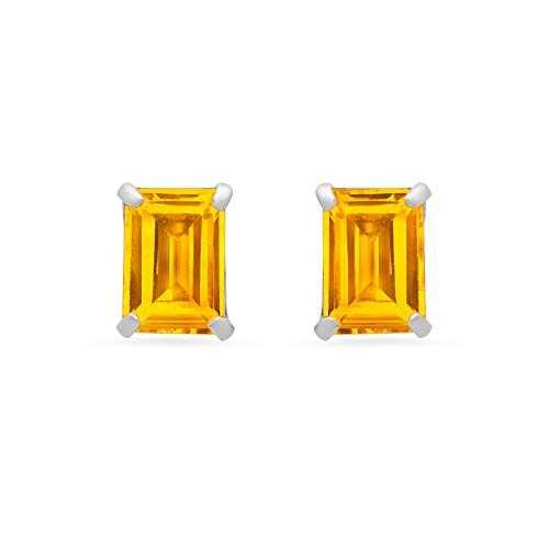14k White or White Gold Solitaire Emerald-Cut Citrine Stud Earrings (7x5mm)