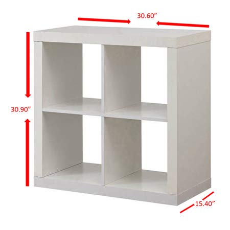 Better Homes and Gardens.. Bookshelf Square Storage Cabinet 4-Cube Organizer (Weathered) (Rustic Gray, 4-Cube)
