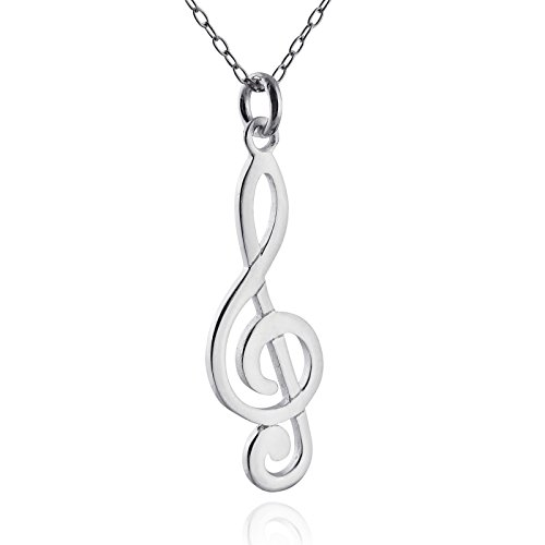 (FashionJunkie4Life Sterling Silver Polished Music Treble Clef Charm Necklace, 18