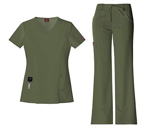 Dickies Xtreme Stretch Women's Medical Uniform Scrub Set Bundle - 82851 V-Neck Top & 82011 Drawstring Pants & MS Badge Reel (Olive - Small/Small)