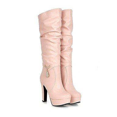 RTRY Zapatos De Mujer Materiales Personalizados Polipiel Moda Otoño Invierno Botas De Montar Botas Botas Chunky Talón Puntera Redonda Mid-Calf Botas US8 / EU39 / UK6 / CN39