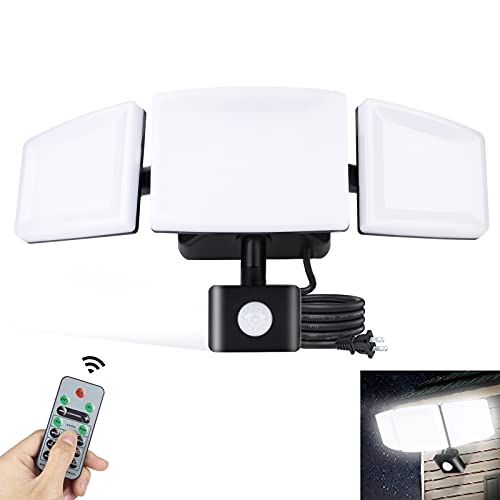 Motion Sensor Outdoor Lights,SOLIDEE 35W Security Lights, 3500LM LED Plug in Flood Lights Outdoor with Remote Control, 3 Adjustable Heads Waterproof IP65 Outdoor Lights for Garage,Porch,Backyard