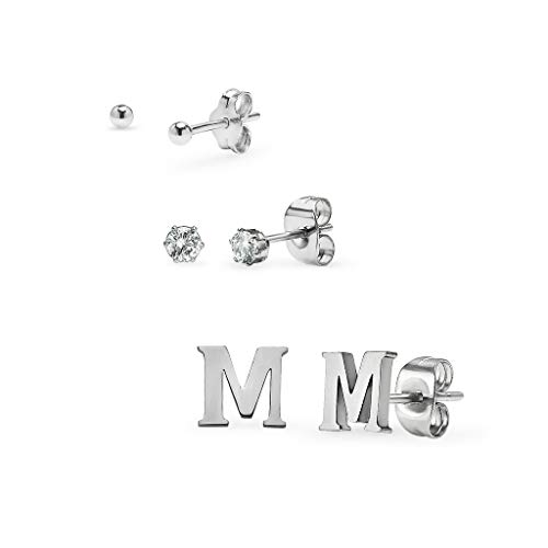 (Set of 3 Stud Earrings - Ball, Alphabet Letter & Cubic Zirconia by I Jewel | 3 Polished Finishes with Free Gift Pouch Silver Tone Letter M)