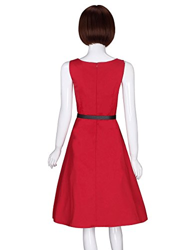 Dress Boat 941 red Vintage Sleeveless Classical ADAMARIS Women's Neck with Belt Swing q1ntP0x