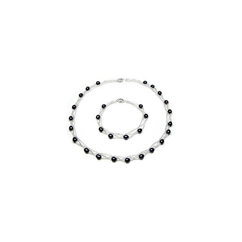 - Blue Pearls - Black Freshwater Pearl Twisted Necklace and Bracelet Set and Silver Clasp - BPS 0218 Y Noir- Blue Pearls - BPS 0218 Y Noir