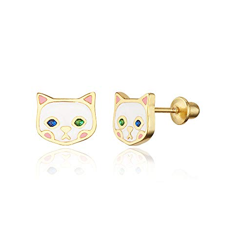 14k Gold Plated Enamel Cat Baby Girls Screwback Earrings with Sterling Silver Post