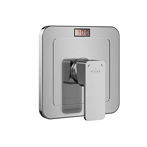 PULSE ShowerSpas 3004-RIV-PB-CH Tru-Temp Pressure Balance Rough-In Valve Trim Kit, LED Temperature Display, Square, 1/2