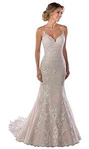 Women's Lace Mermaid Wedding Dress Long Open Back Spaghetti Strap Bridal Gown