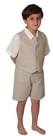 Gino Giovanni G266 Short Set Cotton/Linen Blend Summer Baby/Toddler (2T, Natural)