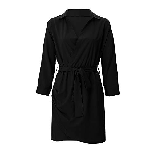 de Mujeres Moda la de de Las Anudada Larga Manga Vestido Ocasional de Blusa la Negro la Bq67p7