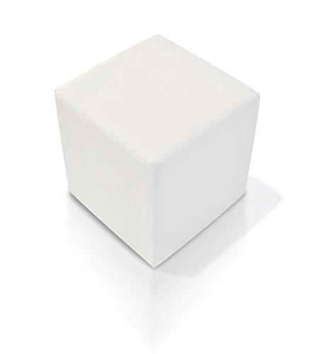 KUBUS Bequemer Sitzwürfel Kunstleder 50x45x45 Bandscheibenwürfel, weiss
