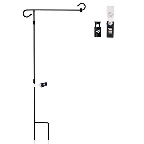Anley |Garden Flag Stand| Premium Wrought Iron Garden Flag Pole Holder - Weather Resistant Black Matte Coating - Easy Assemble - Free Flag Stopper and Anti-Wind Clip - 37 x 18 Inch