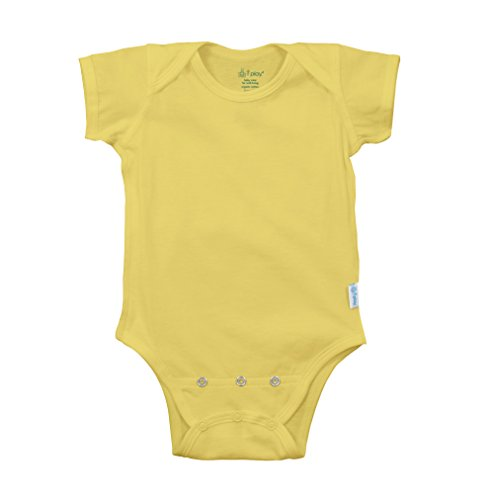 i play. Baby Short Sleeve Organic Adjustable Bodysuit,  Yellow, 6-12 Months ()