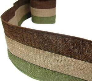 2 Yds Earthtones Brown Beige Green Burlap Jute Wired Ribbon 4