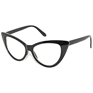 Classic Vintage Cat Eye Clear Lens Sunglasses Black Frame