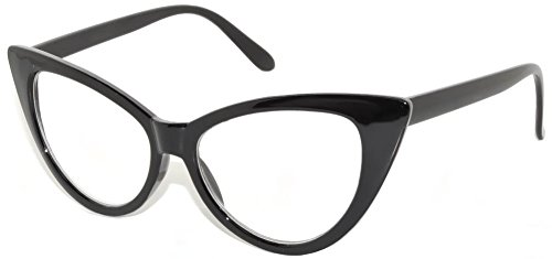 Classic Vintage Cat Eye Clear Lens Sunglasses Black - Cat Frames Eye Glass