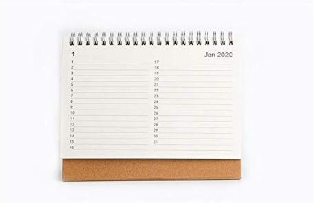 Tischkalender Kalendarien 2020 NEW Kawaii Cute 3 Größe Solid Color Kfaft Kalender Coil Zeitplan kreative Schreibtisch-Tabelle Termine Erinnerung Zeitplan Planer sl2192 (Color : Large beige)
